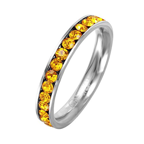 Citrine November Birthstone Ring - SURANO DESIGN JEWELRY 3mm Stackable Stainless Steel Eternity Band Ring w/Crystal Birthstones (November-Citrine Colored, 8)
