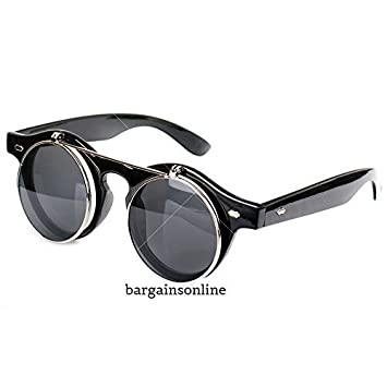 03c764f6b662 Steampunk Goggles Glasses Round Sunglasses Retro Vintage Flip Up Cyber Goth  Black Colour: Amazon.co.uk: Sports & Outdoors