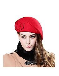 Santwo Women's Winter Beret Warm Wool Cap Hat Elegant British Style Solid Color