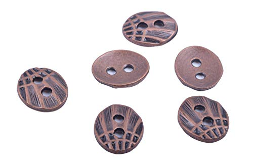 KONMAY 50pcs Buttons with Two Hole for Wrap Bracelets Jewelry Making Fits 1.5mm and 2.0mm, Antique Copper