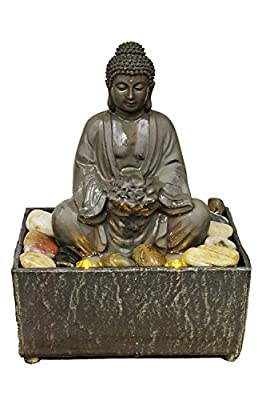 """Natures Mark 8"""" H Lotus Buddha LED Fountain with Adaptor"""
