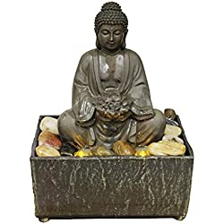 "Natures Mark 8"" H Lotus Buddha LED Fountain with Adaptor"