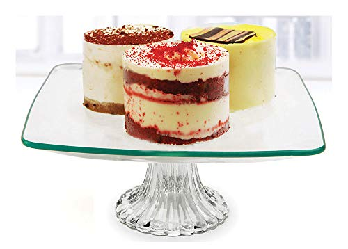 Circleware 55163 Chic Small Square Glass Cake Stand