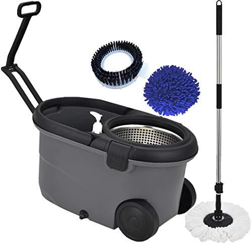 Mop Giratório Balde Esfregão Limpador Microfibra Limpeza Pesada Piso Pó 1,60m Cesto Inox Centrifugação 360° Multiuso…