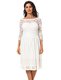 Dilanni Womens Plus Size Floral Lace 3/4 Sleeve Flare Cocktail Tube Dress 0X-5X