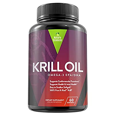 Antarctic Krill Oil Omega 3 Supplement By Naturo Sciences - 100% K-REAL™ Contains: EPA, DHA, Omega-6, Phospholipids, Astaxanthin 60 Softgels, 30 Servings
