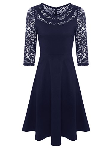 fitted blue lace dress - 3