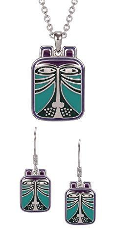 Laurel Burch Toshio Cat Purple / Blue Cloisonne Necklace / Earrings Set