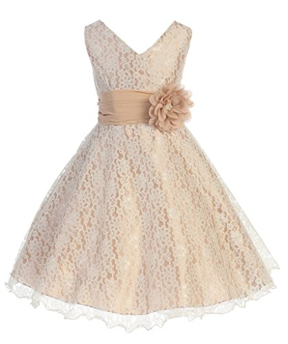 iGirlDress Little Girls Lace Special Occasion Dress Sizes 2 Champagne