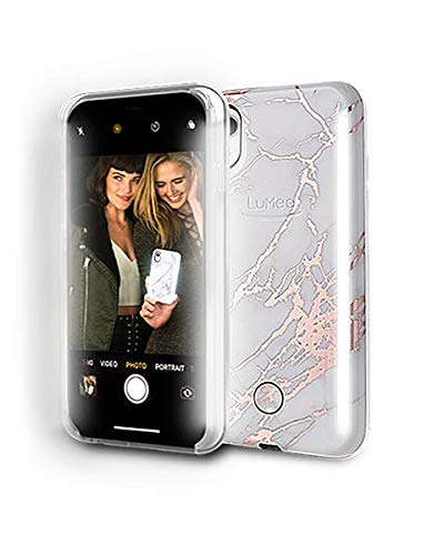 LuMee Duo Phone Case, Rose White Marble | Front & Back LED Lighting, Variable Dimmer | Shock Absorption, Bumper Case, Selfie Phone Case | iPhone XR Only by LuMee (Image #4)
