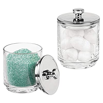 mDesign Glass Bathroom Vanity Storage Organizer Apothecary Canister Jar Holder for Cotton Swabs, Rounds, Balls, Makeup Sponges, Bath Salts, Hair Ties, Makeup - 2 Pack - Clear/Chrome - STORAGE MADE STYLISH: These sleek canisters store needed vanity staples and provide a decorative accent to your powder room or bathroom vanity EASY TO USE: Each vanity jar has a removable lid and a wide mouth to make accessing bathroom necessities and accessories simple; Canister jars can be used throughout the home; The versatility of this product makes it perfect for home decor in the bathroom, kitchen, home office or any room in between; Also great for use in wedding centerpieces and candy buffets KEEP IT NEAT: The classic design provides plenty of room for storing essentials; Great for makeup applicators, sponges, rounds, as well as cotton swabs and cotton balls: Perfect for decor - hold seashells, decorative stones, and more; Easily wipe clean with a damp cloth - organizers, bathroom-accessories, bathroom - 418WP93CyAL. SS400  -