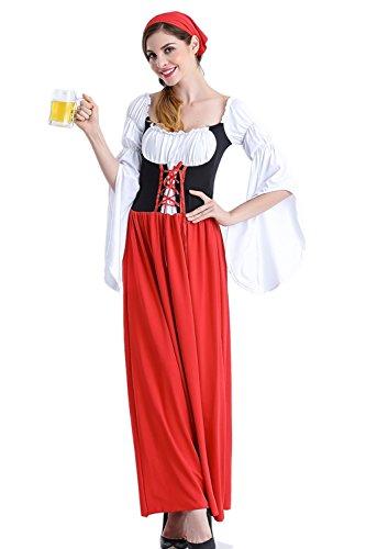 Zonsaoja Women's Dirndl Dress Oktoberfest Traditional German Beer Maid Costume Red M ()