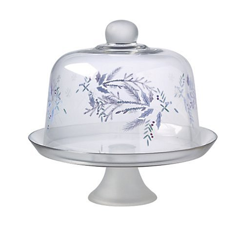 UPC 025398649662, Pfaltzgraff Winterfrost Etched and Hand Painted Glass Pedestal Cake Plate