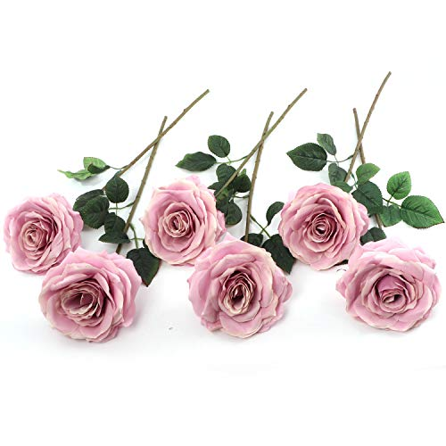 - 6 Artificial Roses Perfect for Bridal Bouquet, Wedding or Party Centerpiece Decoration, 6