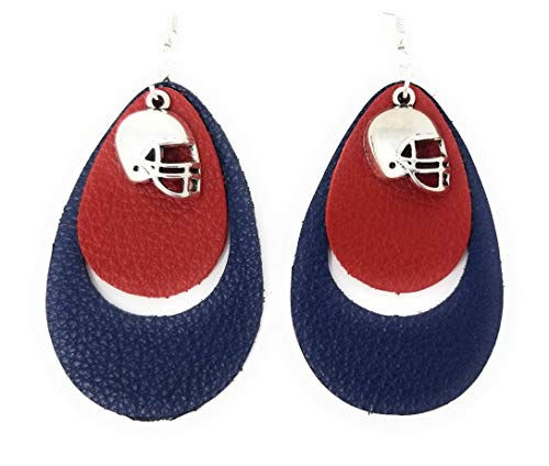Teardrop Leather Earring for Women Leather Earrings for NFL and College Teams (Navy/Red Teardrop) ()