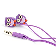 Purple In-Ear Owl Headphones for Kids - Compatible with the eBoTrade Digital SPY Audio Voice Recorder 4132CF - by DURAGADGET
