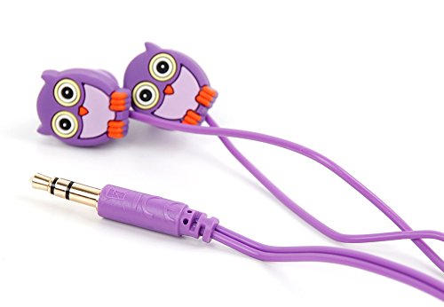 DURAGADGET Purple in-Ear Novelty Owl in-Ear Headphones for Kids - Compatible with Pandigital Planet 7