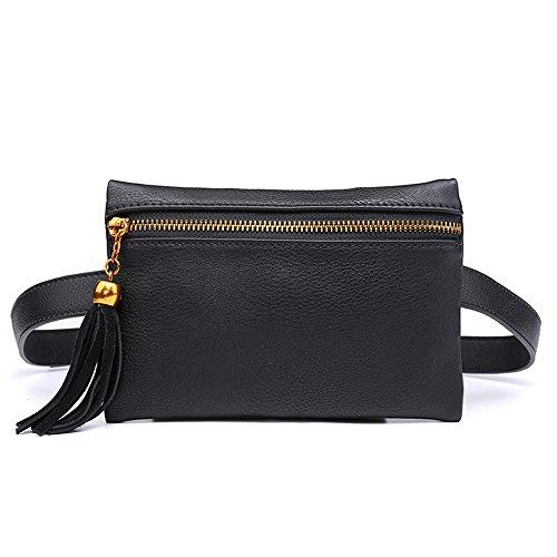 Badiya Fashion Solid Fanny Bag Black Female Adjusted Belt Bag Ladies Casual Waist Pack