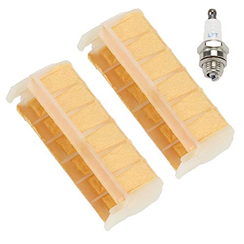 Mckin (Pack of 2 Air Filter fits Stihl 021 023 025 MS210 MS230 MS250 1123 120 1613 Chainsaw Parts with Spark Plug