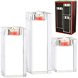 Amazing Home Large Crystal Candle Holders Set of 3, 3.1/4.6/6.2 inches Height,Prepackaged Elegant Heavy Solid Square Tealight Holders Set Centerpieces for Wedding, Home Decor, Ceremony and Anniversary