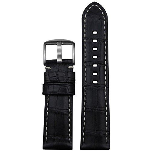 20mm Black Genuine Louisiana Alligator Watch Band with White Stitching and Matte Finish ()