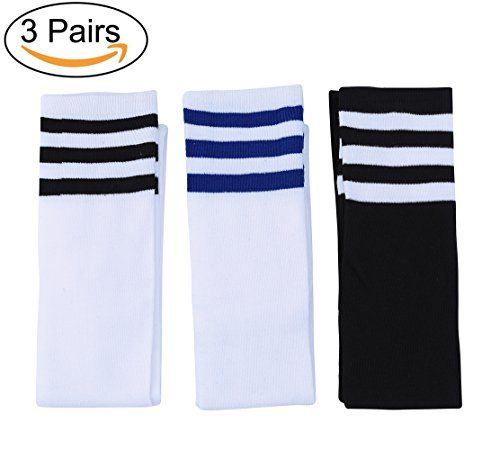 Penta Angel 3 Pairs Women Cotton Over-Knee Socks Athlete Vertical Stripe Casual High (Angels Winter Boots)