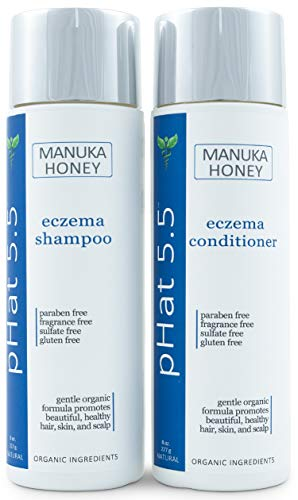 Eczema Shampoo and Conditioner with Manuka Honey and Coconut Oil - Anti Dandruff Treatment for Dry & Itchy Scalp - Organic and Natural - Gentle for Sensitive Skin - Sulfate Free (8 oz)