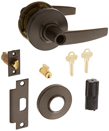 Schlage commercial AL50PDJUP613 AL Series Grade 2 Cylindrical Lock, Entry/Office Function Push Button Locking, Jupiter Lever Design, Oil Rubbed Bronze Finish by Schlage Lock Company