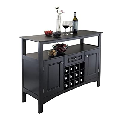 Liquor Storage Cabinet With Drawers In Black Buffet Furniture Dining Room Server Is Great For