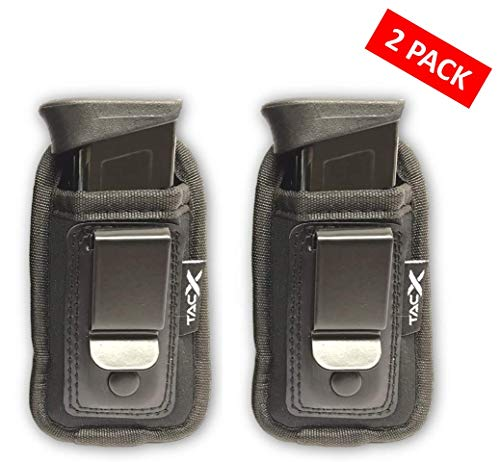 TacX Pro Gear Universal IWB Pistol Mag Pouch | Inside The Waistband Magazine Holder | Single and Double Stack Magazine Concealment Holsters for 9mm/.40/.45/.380 (2 Pack - Small)