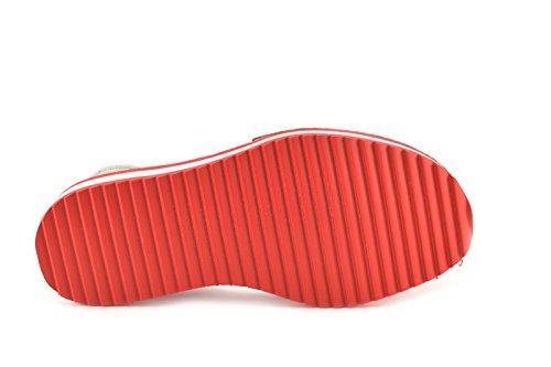 Menorquinas by ConBuenPie - modelo 10201 - Avarca de piel con plataforma de Mujer Color Azul y Rojo Rojo