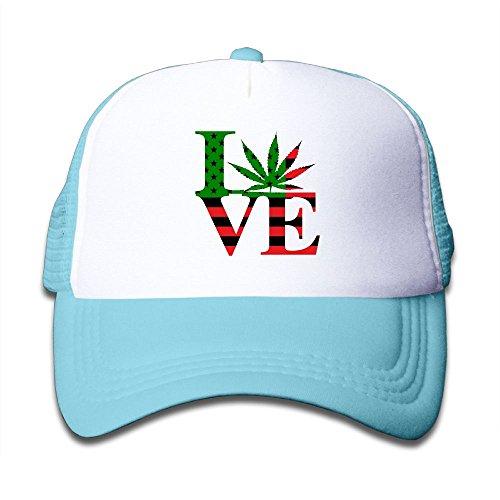 Kid's Love Flag Weed Leaf Cool Adjustable Casual Mesh Baseball Cap Trucker Hat