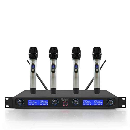 UHF Wireless Microphone System, 4 Channel 4 Handheld Whole Metal Mic with LCD Display for Pro Audio Karaoke DJ Singing Meeting Party Comply With New FCC Frequency
