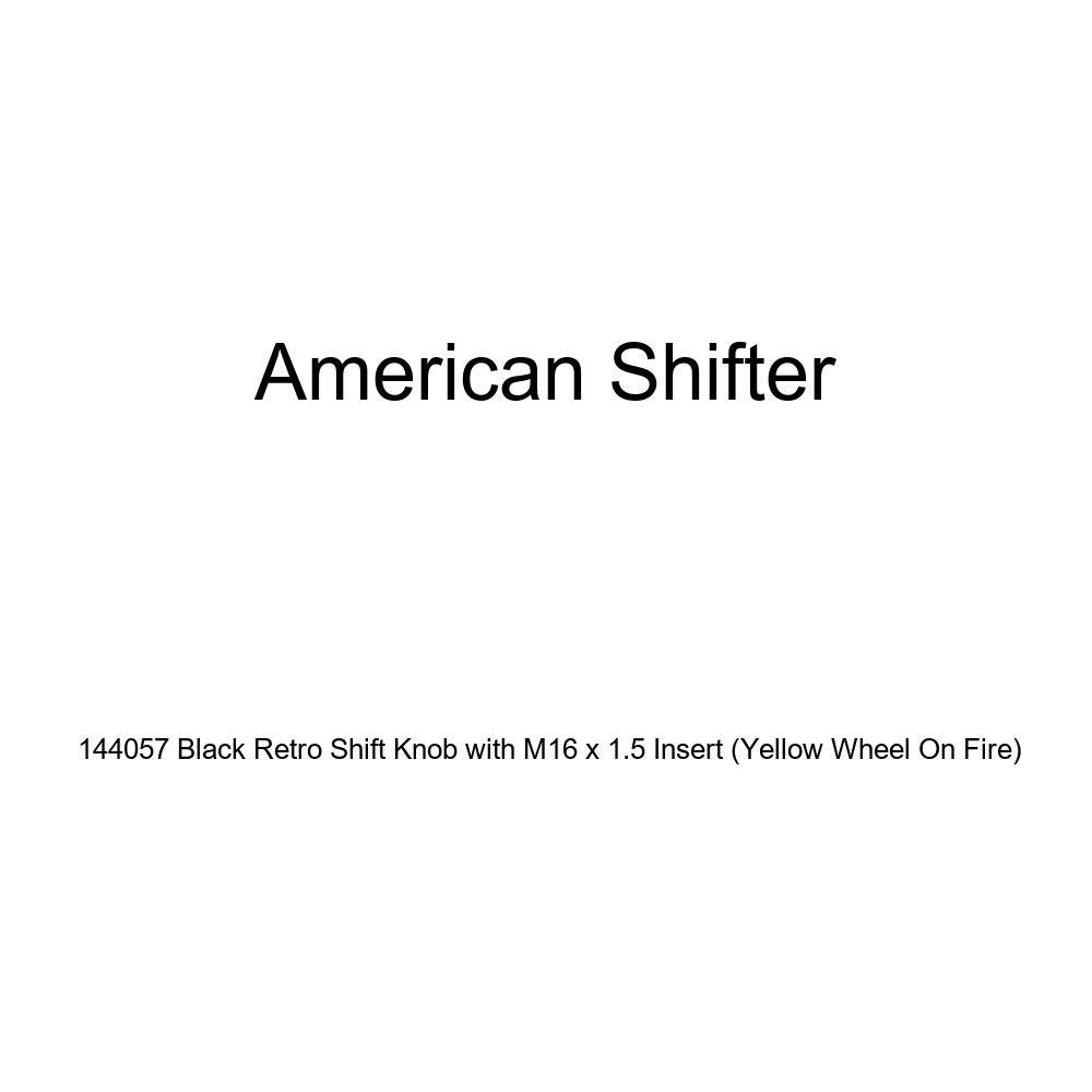 American Shifter 144057 Black Retro Shift Knob with M16 x 1.5 Insert Yellow Wheel On Fire