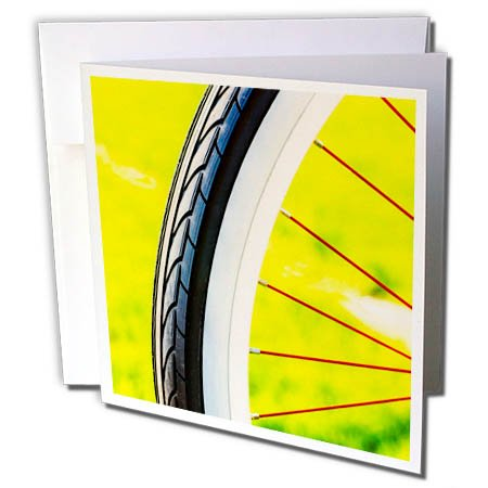 Price comparison product image 3dRose Alexis Photography - Transport Bike - Part of a bicycle wheel with black tire. Summer season begins - 12 Greeting Cards with envelopes (gc_265673_2)