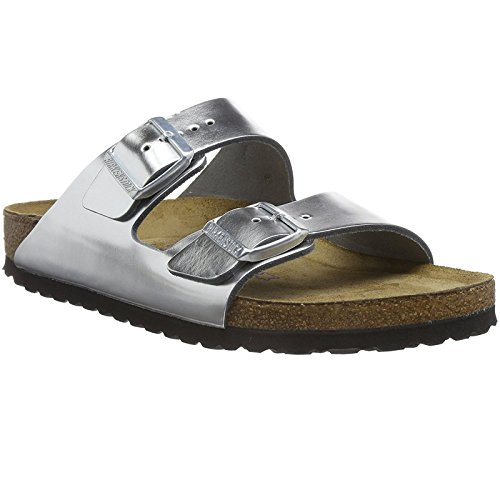 - Birkenstock Arizona Soft Footbed Metallic Silver Leather Unisex Sandals 39 (US Women's 8-8.5)