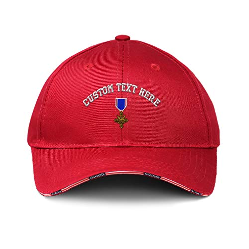 Custom American Flag Hat Distinguished Service Cross Embroidery Design Cotton Patriotic USA Baseball Cap Strap Closure Red Personalized Text Here