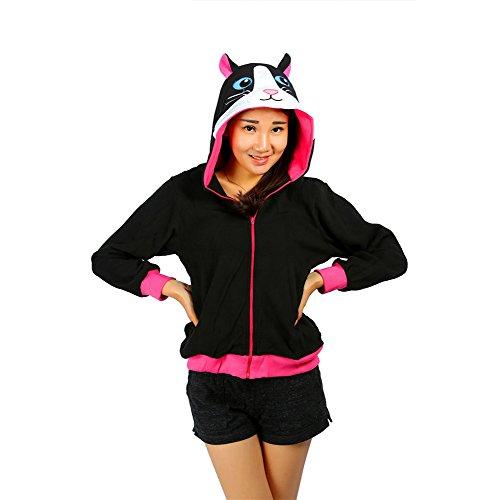Adult Black Cat Unisex Costume Pajamas M (Plus Size Squirrel Costume)
