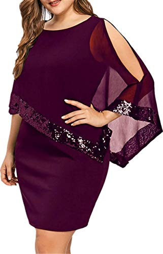 TIFENNY Women Business Plus Size Shawl Cold Shoulder Overlay Asymmetric Chiffon Strapless Sequins Dress Fashion Party Dresses -