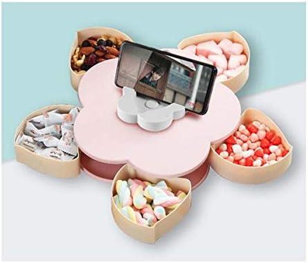 クリエイティブスナックトレイ花びら、回転キャンディボックス、干しメロンシードトレイ、リビングルーム家庭プラスチック収納ボックスふた付き (Color : Pink single layer)