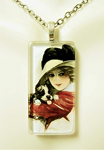 (American beauty with a puppy glass pendant - DGP02-421 - Harrison Fisher)