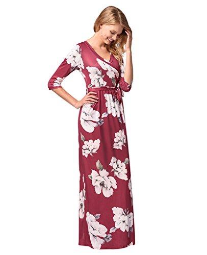Long Summer Print Women Dresses Sleeve Loose Dresses Red Floral Casual Maxi Dark Dreagel Half wqvxRXX