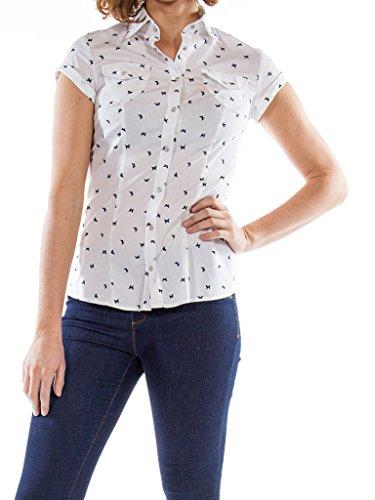 Jeans Classique Carrera U18 Courte Femme Sur Pour Fantaisie Chemise Blanc 291 Manche Slim Micro Fond Taille Style BwqYRwd