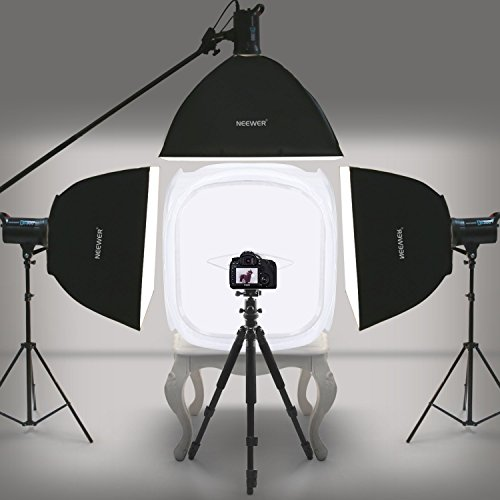 Neewer 24x24 inch/60x60 cm Photo Studio Shooting Tent Light Cube Diffusion Soft Box Kit with 4 Colors Backdrops (Red Dark Blue Black White) for Photography