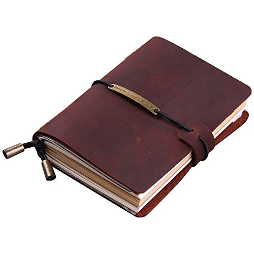 Robrasim Vintage Refillable Handmade Traveler's Notebook – Leather Journal Notebook – Pocket Size 13x10cm – Wine