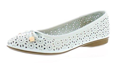 Gold Toe Women's Ambrosia Perforated Ballet Flat Mini Wedge, Dual Density Memory Foam Comfort Dress Shoe Sea Blue 8 M US