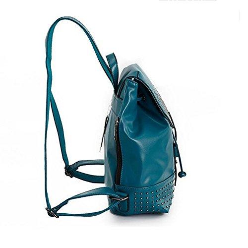 GUO - borsa a tracolla creativi della moda coreana nuove borse potrebbero rivetti fibbia borsa a tracolla (26 * 12 * 32 centimetri) (blu)