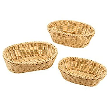 3 Piece Poly-wicker Oval Nestable Basket Set, Microwavable, and Dishwasher Safe.
