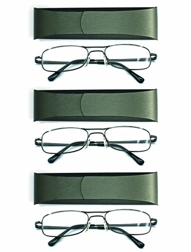 Handmade Optics - EYE ZOOM 3 Pair Classis Metal Reading Glasses Spring Hinge with Hand Made Case for Men and Women (Gunmetal, Strength + 1.75)