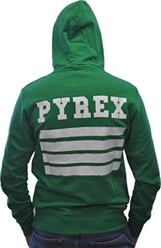 Felpa Pyrex cappuccio logo fronte retro VERDE Unisex